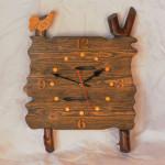"""Деревянные часы ручной работы """"Петушок на заборе"""""""